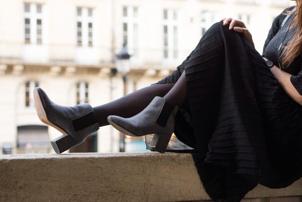 Boots H&M et Jupe plissée Camaieu