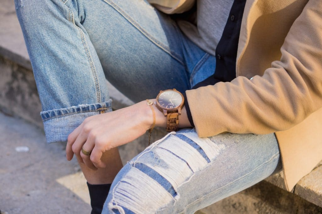 Jean Boyfit Stradivarius / Montre Jord Wood Watch