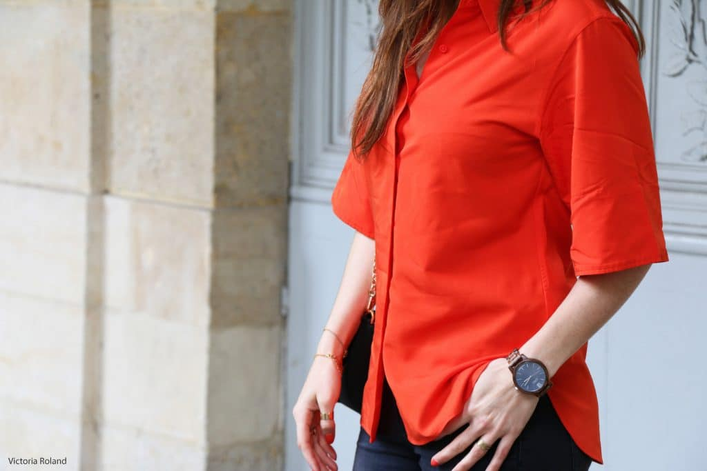 Chemise oversize orange Uniqlo Collection U
