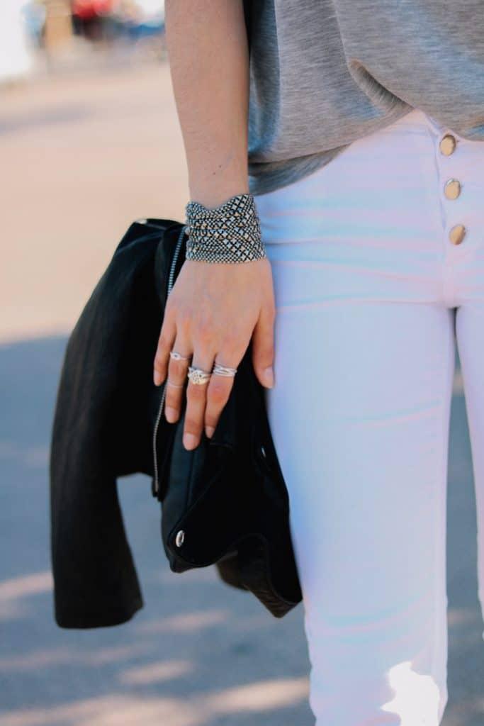 Pantalon blanc cropped Stradivarius