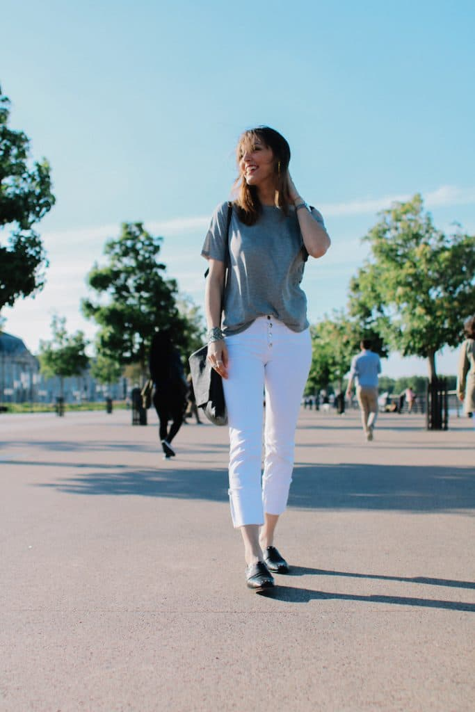 Pantalons blanc cropped Stradivarius