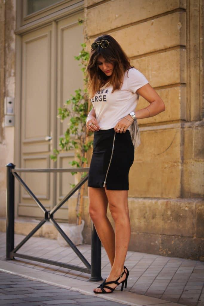 Jupe bi-matière IKKS et t-shirt Raoul et Marcelle