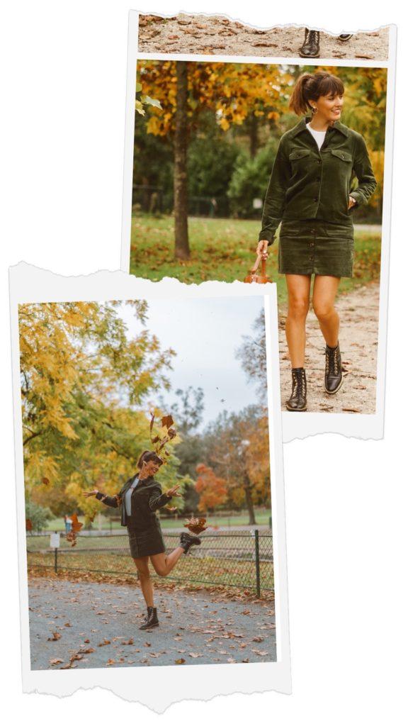 veste et jupe en velours vert foncé boots motardes noires croco