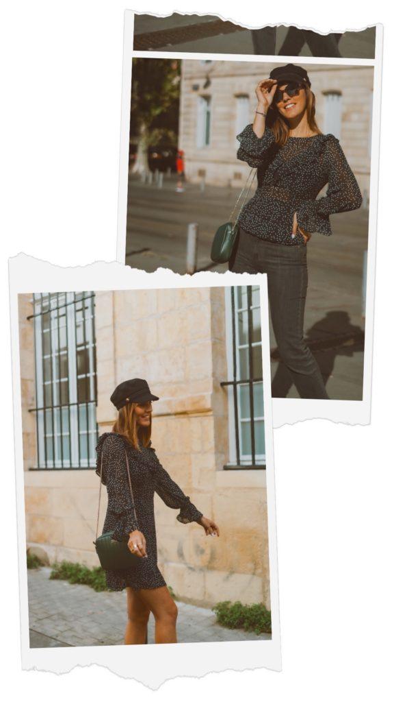 robe à pois et volants sac en cuir vert foncé casquette noir